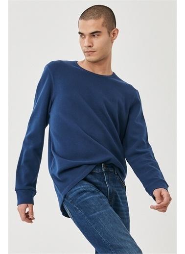 Lee Regular Fit Normal Kesim %100 Pamuk Sıfır Yaka Sweatshirt Mavi